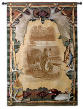 Antler Lodge   Woven Tapestry Wall Art Hanging   Mother Bear with Cubs Etching in Rustic Outdoors Themed Frame Cabin Decor   100% Cotton USA Size 77x53 Wall Tapestry