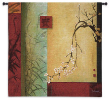 Spring Chorus by Don Li-Leger | Woven Tapestry Wall Art Hanging | Abstract Asian Fusion Tree Branch Geometric Artwork | 100% Cotton USA Size 44x44 Wall Tapestry