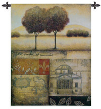 Renaissance Landscape II by Susan Osborne | Woven Tapestry Wall Art Hanging | Old World Themed Contemporary Landscape Map Collage | 100% Cotton USA Size 53x44 Wall Tapestry