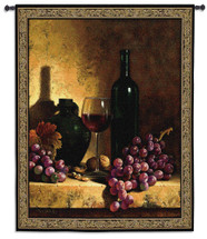 Wine Bottle with Grapes and Walnuts by Loran Speck | Woven Tapestry Wall Art Hanging | Vintage Wine Ensemble Still Life | 100% Cotton USA Size 53x42 Wall Tapestry