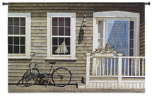 Old Friend | Woven Tapestry Wall Art Hanging | Bicycle Parked on Peaceful Cottage Porch | 100% Cotton USA Size 53x35 Wall Tapestry