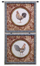 Plumage I | Woven Tapestry Wall Art Hanging | Roosters in Floral Panels Collector's Artwork | 100% Cotton USA Size 52x26 Wall Tapestry