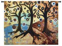 Trinitary by Natasha Wescoat | Woven Tapestry Wall Art Hanging | Modern Spiritual Spiraling Trees of Wisdom | 100% Cotton USA Size 53x44 Wall Tapestry