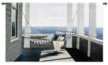 Striped Hammock by Zhen-Huan Lu | Woven Tapestry Wall Art Hanging | Peaceful Seaside Afternoon Porch with Hammock | 100% Cotton USA Size 53x32 Wall Tapestry