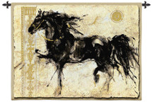 Lepa Zena by Marta Gottfried | Woven Tapestry Wall Art Hanging | Majestic Black Horse Ink Artwork | 100% Cotton USA Size 53x45 Wall Tapestry