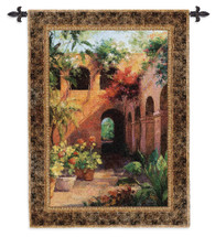 Camino Hermosa | Woven Tapestry Wall Art Hanging | Hali Adobe Potted Floral Spanish Courtyard | 100% Cotton USA Size 53x40 Wall Tapestry