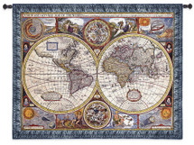 A New and Accurate Map | Woven Tapestry Wall Art Hanging | Basset and Chiswell Intricate Historic 17th Century English Atlas | 100% Cotton USA Size 45x37 Wall Tapestry