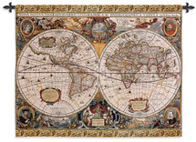 Antique Old World Map Geographica by Jan Janssonius | Woven Tapestry Wall Art Hanging | Beautiful Rustic Globe with Luxurious Mythology Designs | 100% Cotton USA Size 67x53 Wall Tapestry