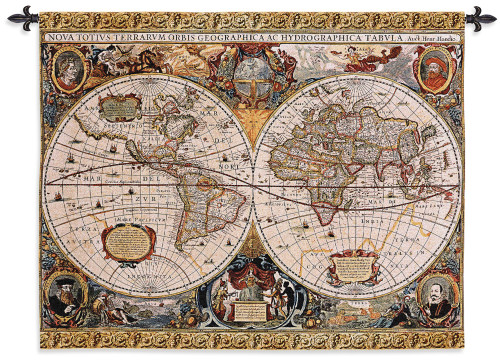 Antique Old World Map Geographica by Jan Janssonius   Woven Tapestry Wall Art Hanging   Beautiful Rustic Globe with Luxurious Mythology Designs   100% Cotton USA Size 67x53 Wall Tapestry