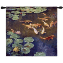 Inclinations by Curt Walters | Woven Tapestry Wall Art Hanging | Tranquil Koi Fish in Water Lily Pond | 100% Cotton USA Size 52x50 Wall Tapestry