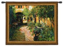 Courtyard Alsace   Woven Tapestry Wall Art Hanging   Rich Shaded Cobblestone Path in European Courtyard   100% Cotton USA Size 65x53 Wall Tapestry