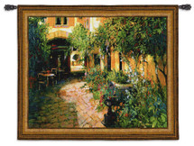 Courtyard Alsace | Woven Tapestry Wall Art Hanging | Rich Shaded Cobblestone Path in European Courtyard | 100% Cotton USA Size 65x53 Wall Tapestry
