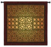 Eastern Lattice   Woven Tapestry Wall Art Hanging   Warm Geometric Metal Lattice Patterns   100% Cotton USA Size 53x53 Wall Tapestry