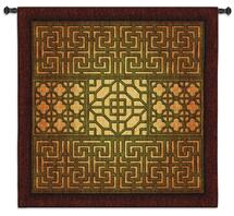 Eastern Lattice | Woven Tapestry Wall Art Hanging | Warm Geometric Metal Lattice Patterns | 100% Cotton USA Size 53x53 Wall Tapestry