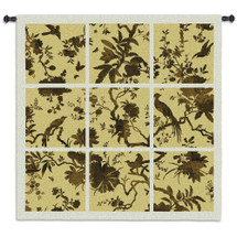 Floral Division Gold | Woven Tapestry Wall Art Hanging | Silhouetted Tropical Birds and Plants Panel Artwork | 100% Cotton USA Size 45x45 Wall Tapestry