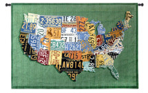 USA Tags by Aaron Foster   Woven Tapestry Wall Art Hanging   Vintage License Plate USA Map   100% Cotton USA Size 53x38 Wall Tapestry