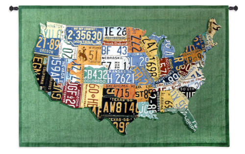 USA Tags by Aaron Foster | Woven Tapestry Wall Art Hanging | Vintage License Plate USA Map | 100% Cotton USA Size 53x38 Wall Tapestry