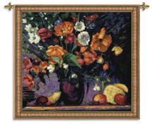 Poppies | Woven Tapestry Wall Art Hanging | Rich Vibrant Impressionist Floral Still Life | 100% Cotton USA Size 53x53 Wall Tapestry
