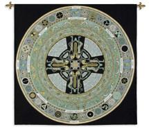 Celtic Mandala   Woven Tapestry Wall Art Hanging   Celtic Knot Tribal Symbols   100% Cotton USA Size 52x51 Wall Tapestry