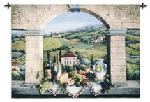 Vino de Tuscany by Barbara R. Felisky | Woven Tapestry Wall Art Hanging | Tuscan Villa Arch Wine and Grape Still Life | 100% Cotton USA Size 75x52 Wall Tapestry