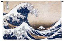 The Great Wave off Kanagawa by Katsushika Hokusai | Woven Tapestry Wall Art Hanging | Japanese Masterpiece of Intense Ocean Scene | 100% Cotton USA Size 53x35 Wall Tapestry