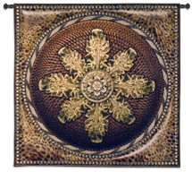 Leopard with Rosette   Woven Tapestry Wall Art Hanging   Ornate Medallion Savannah Wildlife Motif   100% Cotton USA Size 45x45 Wall Tapestry