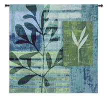 Marine Impressions | Woven Tapestry Wall Art Hanging | Contemporary Floral Cool Aquatic Shaded Artwork | 100% Cotton USA Size 44x44 Wall Tapestry