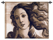 Birth of Venus Head   Woven Tapestry Wall Art Hanging   Roman Mythology Botticelli Renaissance Masterpiece Close-Up   100% Cotton USA Size 44x36 Wall Tapestry