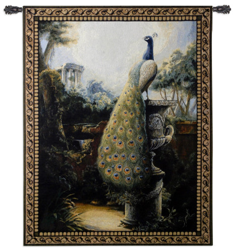 Luogo Tranquillo By Paul Panossian - Woven Tapestry Wall Art Hanging - Peacock Garden In Ancient Ruins Classical Greek Rome Theme - 100% Cotton - USA 53X40 Wall Tapestry