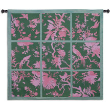 Floral Division Sage and Pink | Woven Tapestry Wall Art Hanging | Silhouetted Tropical Birds and Plants Panel Artwork | 100% Cotton USA Size 44x41 Wall Tapestry