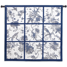 Floral Division Blue and Oyster | Woven Tapestry Wall Art Hanging | Silhouetted Tropical Birds and Plants Panel Artwork | 100% Cotton USA Size 44x41 Wall Tapestry