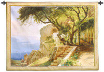 Pergola in Amalfi by Carl Frederik Aagaard | Woven Tapestry Wall Art Hanging | Golden Italian Coastal Villa Cliffs | 100% Cotton USA Size 67x52 Wall Tapestry