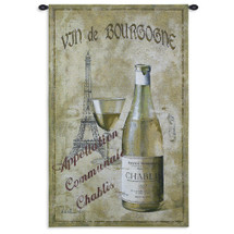 Chablis 27 | Woven Tapestry Wall Art Hanging | Vintage Parisian Wine Poster | 100% Cotton USA Size 53x33 Wall Tapestry