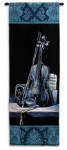 Minuet I by Keith Mallett | Woven Tapestry Wall Art Hanging | Deep Blue Violin with Sheet Music | 100% Cotton USA Size 52x18 Wall Tapestry