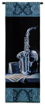 Minuet II by Keith Mallett | Woven Tapestry Wall Art Hanging | Deep Blue Saxophone with Sheet Music | 100% Cotton USA Size 52x18 Wall Tapestry
