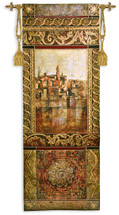 New Enchantment I by John Douglas | Woven Tapestry Wall Art Hanging | Rich Elaborate Mediterranean Seascape Villa | 100% Cotton USA Size 69x25 Wall Tapestry
