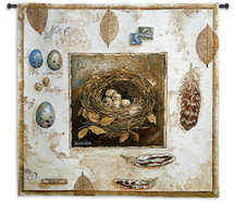 Nested No 6 | Woven Tapestry Wall Art Hanging | Vintage Bird Nest Egg Study | 100% Cotton USA Size 44x42 Wall Tapestry