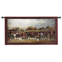 Meet at North Warwick | Woven Tapestry Wall Art Hanging | British Landscape Foxhound Hunting Scene Master Of The Hunt Theme | 100% Cotton USA Size 53x35 Wall Tapestry