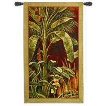 Bali Garden I by John Douglas | Woven Tapestry Wall Art Hanging | Bright Tropical Jungle Foliage on Red | 100% Cotton USA Size 60x35 Wall Tapestry
