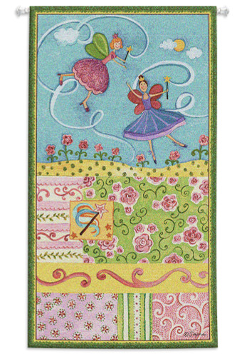 Patchwork Fairy II | Woven Tapestry Wall Art Hanging | Whimsical Princess Fairies on Pastel Field | 100% Cotton USA Size 44x25 Wall Tapestry
