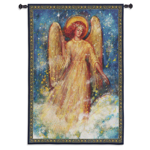 Joy to the World | Woven Tapestry Wall Art Hanging | Cosmic Angel Inspirational Spiritual Painting | 100% Cotton USA Size 53x37 Wall Tapestry