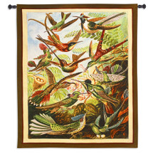 Trochilus | Woven Tapestry Wall Art Hanging | Exotic Jamaican Streamertail Hummingbirds Vibrant Nature Scene | 100% Cotton USA Size 62x43 Wall Tapestry