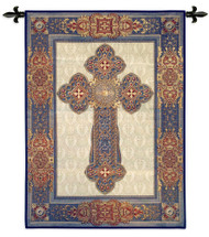 Gothic Cross by Acorn Studio | Woven Tapestry Wall Art Hanging | Gothic Cross in Dramatic Blues and Reds | 100% Cotton USA Size 53x38 Wall Tapestry