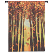 Colors of Fall II | Woven Tapestry Wall Art Hanging | Contemporary Autumn Leaves Upward Angle | 100% Cotton USA Size 53x40 Wall Tapestry