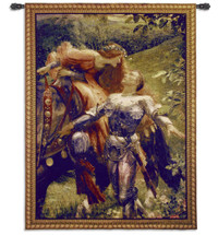 La Belle Dame sans Merci by Frank Dicksee | Woven Tapestry Wall Art Hanging | Victorian John Keats Poem Depiction | 100% Cotton USA Size 69x53 Wall Tapestry