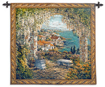 Seaview Hideaway by Yurie Lee | Woven Tapestry Wall Art Hanging | Mediterranean Garden Seaside View | 100% Cotton USA Size 31x31 Wall Tapestry
