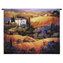 Evening Glow by Nancy O'Toole | Woven Tapestry Wall Art Hanging | Colorful Tuscan Countryside Sunset | 100% Cotton USA Size 31x31 Wall Tapestry