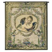 L'Amour et Psyche, enfants by William Adolphe Bouguereau | Woven Tapestry Wall Art Hanging | Cupid and Psyche As Children Victorian Masterpiece | 100% Cotton USA Size 60x53 Wall Tapestry
