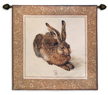 Young Hare by Albrecht Durer | Woven Tapestry Wall Art Hanging | Detailed Earthy Classic 16th century Painting | 100% Cotton USA Size 45x42 Wall Tapestry