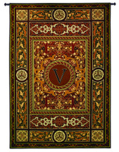 "Monogram Medallion V | Woven Tapestry Wall Art Hanging | Ornate Symmetric Mosaic Artwork with Decorative Letter ""V"" 